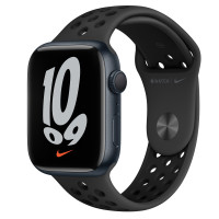 Apple Watch Series 7 Nike GPS 45mm Midnight Aluminium Case with Anthracite Sport Band Black