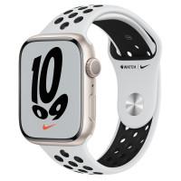 Apple Watch Series 7 Nike GPS 45mm Starlight Aluminium Case with Pure Platinum Sport Band Black