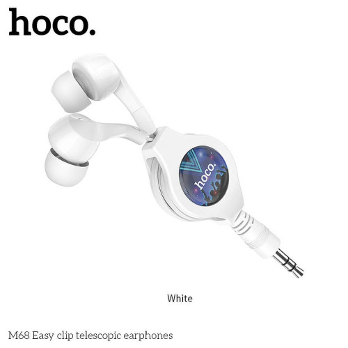 HOCO earphones Easy clip telescopic M68 - Xiaomi Redmi Note 9 Pro бял