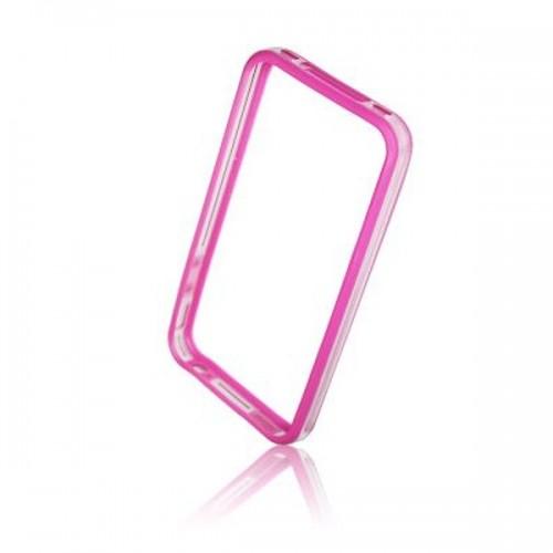 Силиконов Bumper - Apple iPhone 5S розов с прозрачно