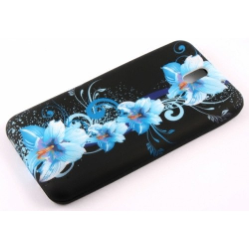 Силиконов калъф Design - Huawei P7 сини цветя