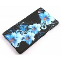 Силиконов калъф Design - Sony Xperia Z1 сини цветя