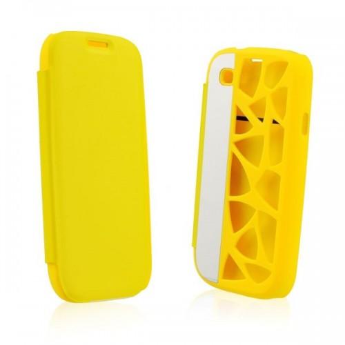 Калъф Flip Cover Water Cube - Samsung Galaxy Note 2 жълт