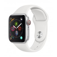 Apple Watch Series 4 GPS+Cellulare 40mm Silver Aluminium Case with White Sport Band